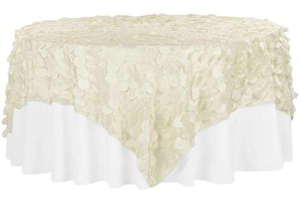 Petal Circle Taffeta 90 X90 Square Table Overlay Ivory Table