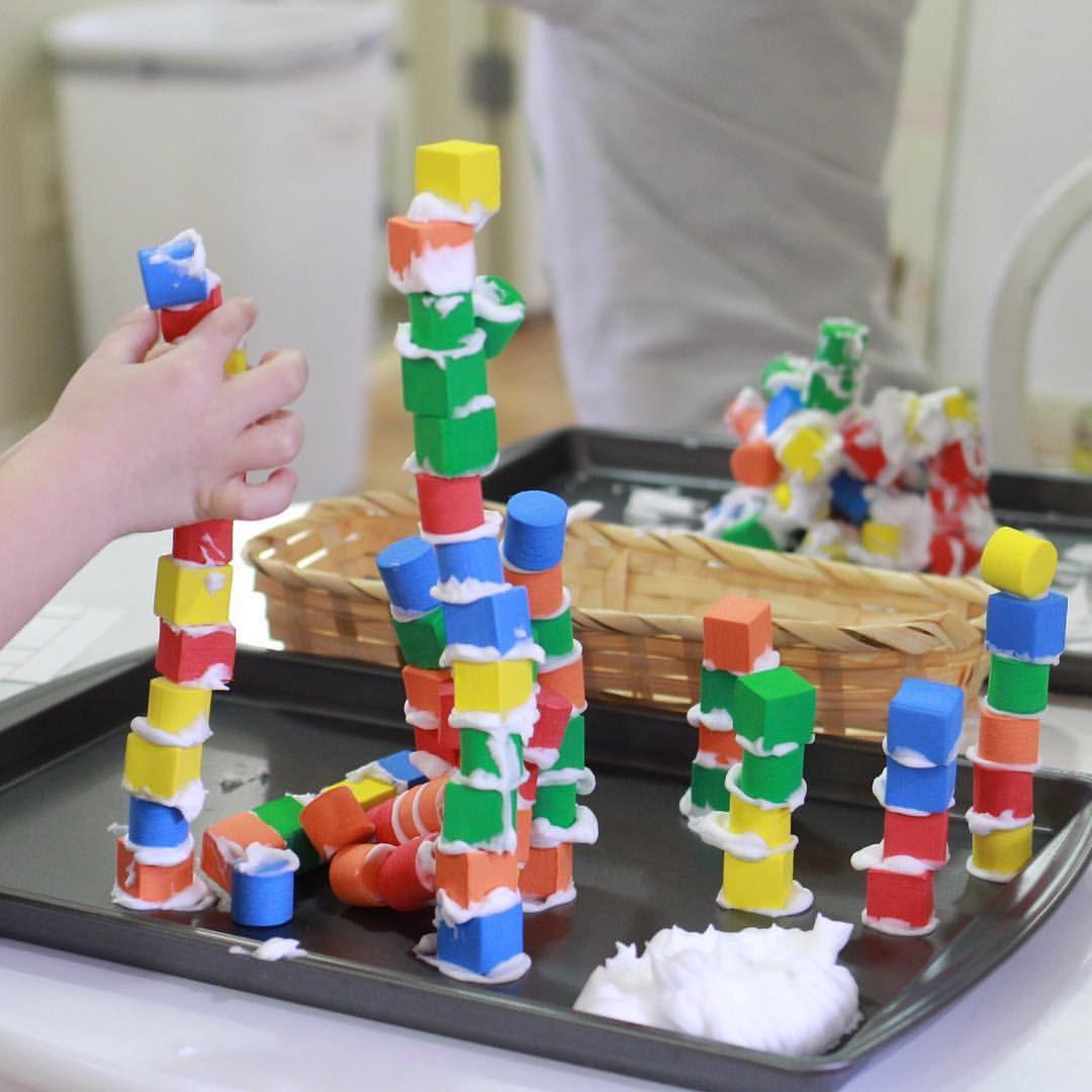 Building Tall Towers - #preschoolblocks #