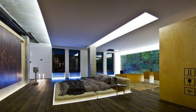 loft-einrichtung-schlafzimmer-gesunkenes-bett-indirekte - indirekte beleuchtung schlafzimmer