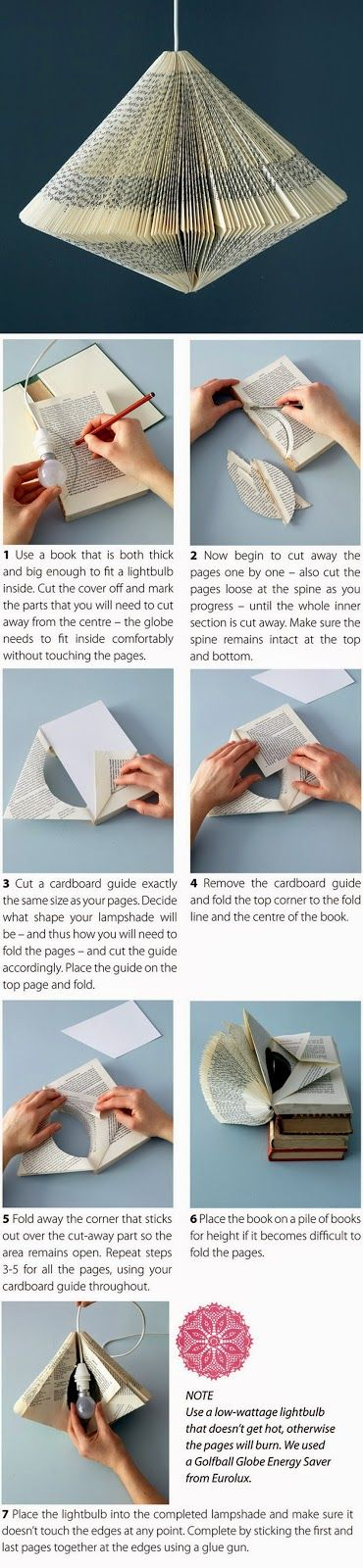 EL MUNDO DEL RECICLAJE: DIY lámpara reciclando un viejo libro
