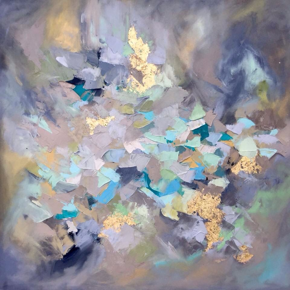 Abstract oil painting with gold leaf by artist Blaire Wheeler
