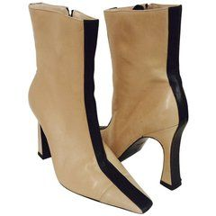 a055054a1110 Mod Chanel Black and Tan Ankle Boots With Sculpted Heels and Cap ...