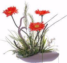 Seidenblumengesteck Kunstblumengesteck Arrangement mit Orangefarbenen Gerbera