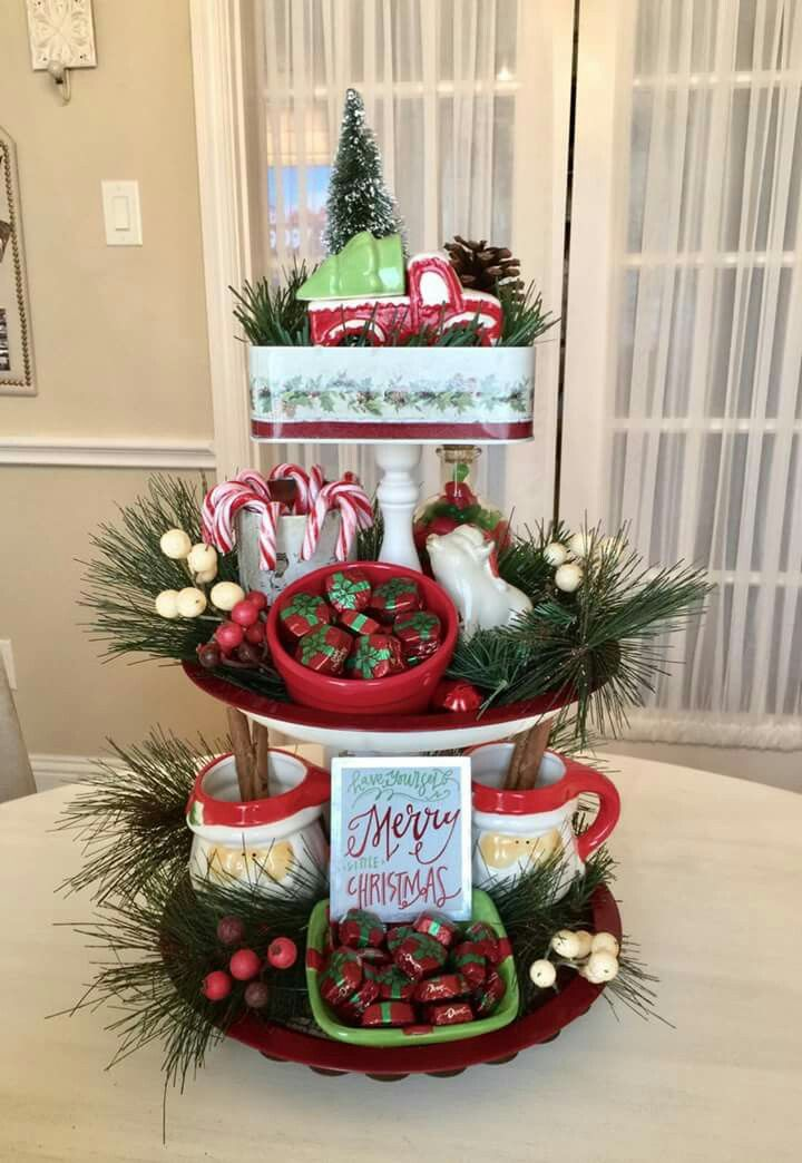 3 Tier Tray Christmas Centerpieces White Christmas Decor Christmas Decorations
