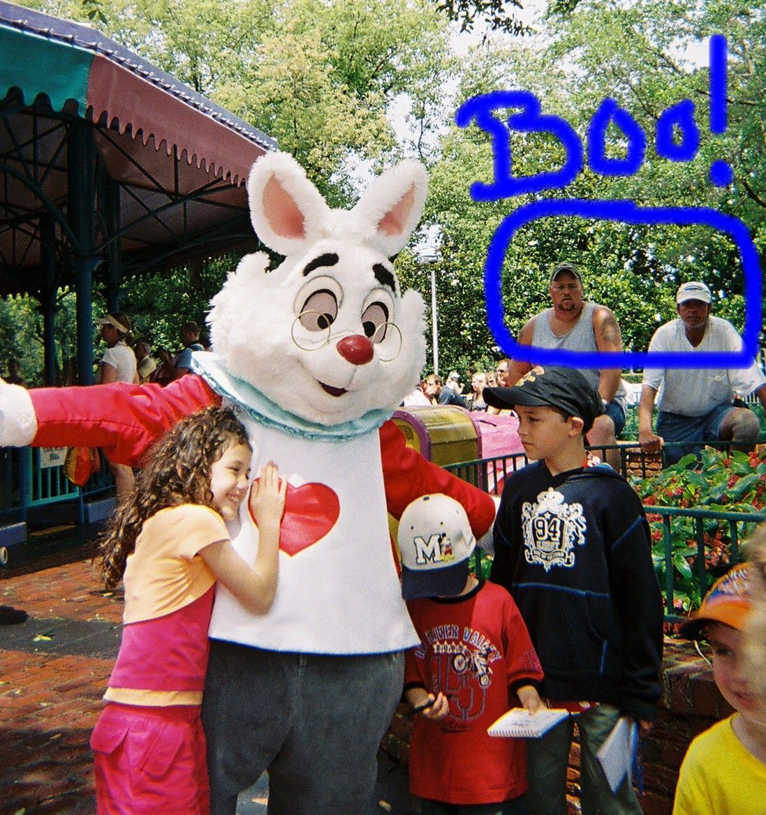 I took this pic of the rabbit and then notice the weird guys in the back...lol