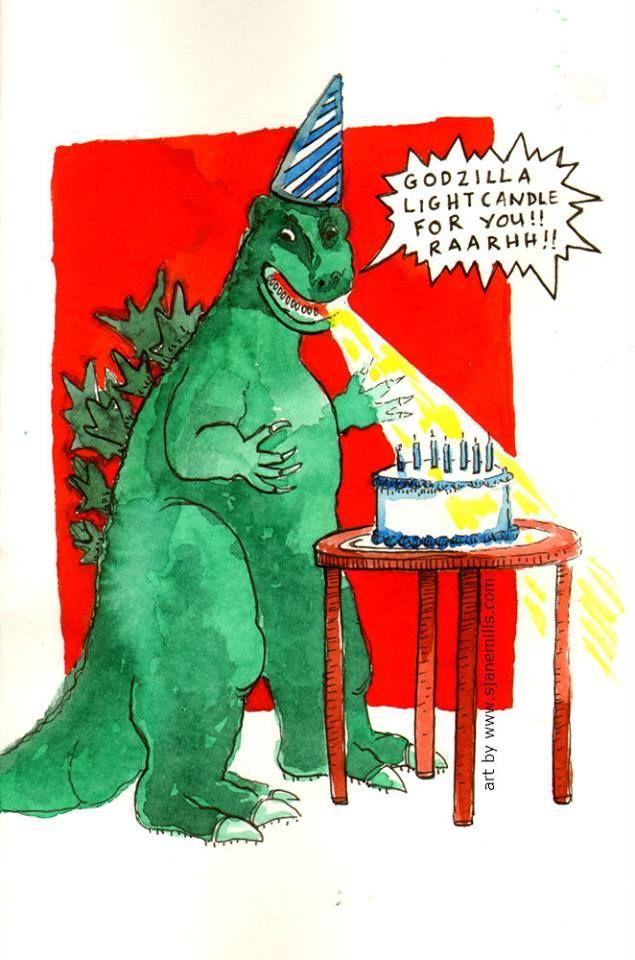 Godzilla Birthday Card Godzilla Birthday