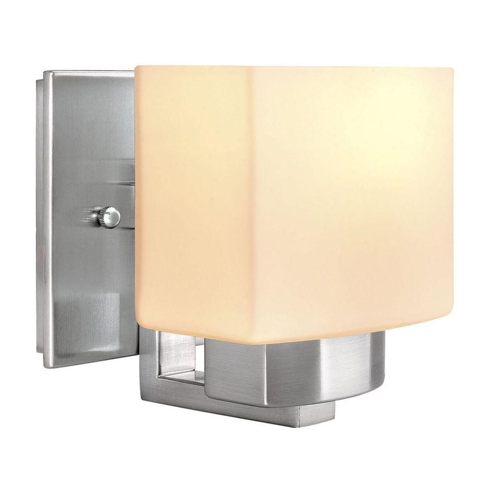 Hampton bay light brushed nickel wall sconce at the home