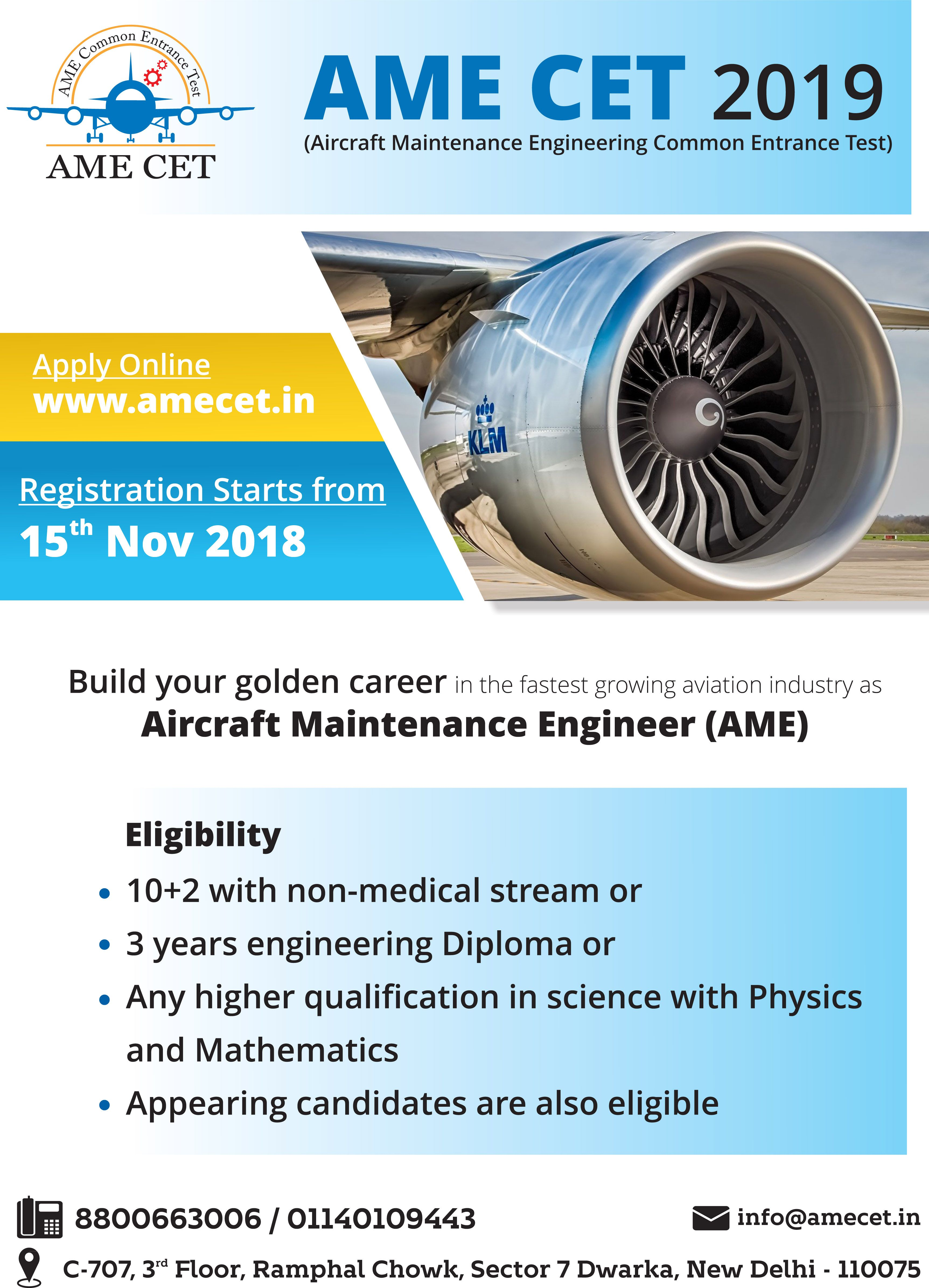 Aircraft Maintenance Engineering (AME) is License program