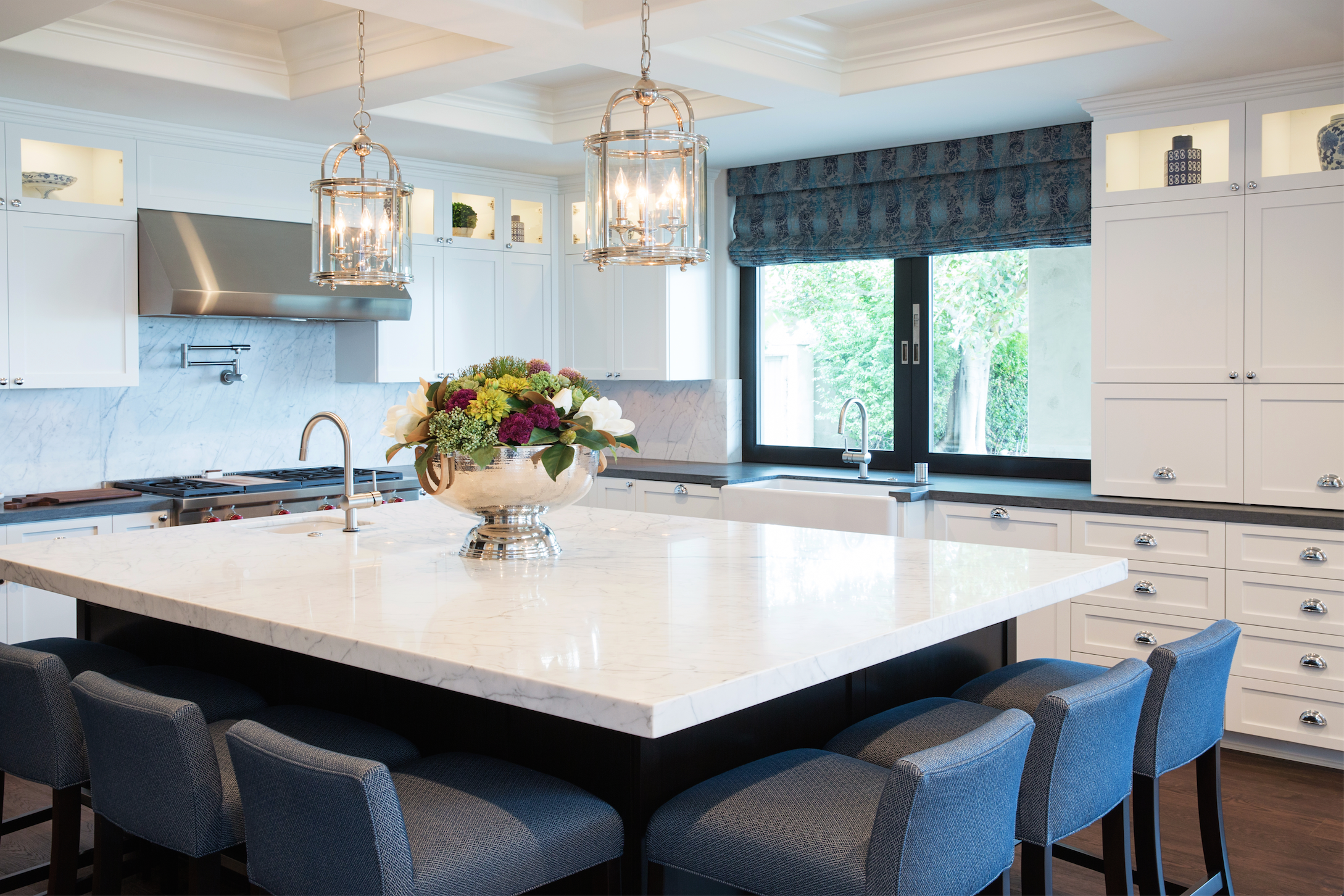 Coffered ceilings, white shaker cabinets, and silver traditional ...