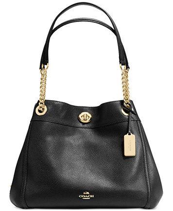 8783658a48 COACH Turnlock Edie Shoulder Bag in Pebble Leather