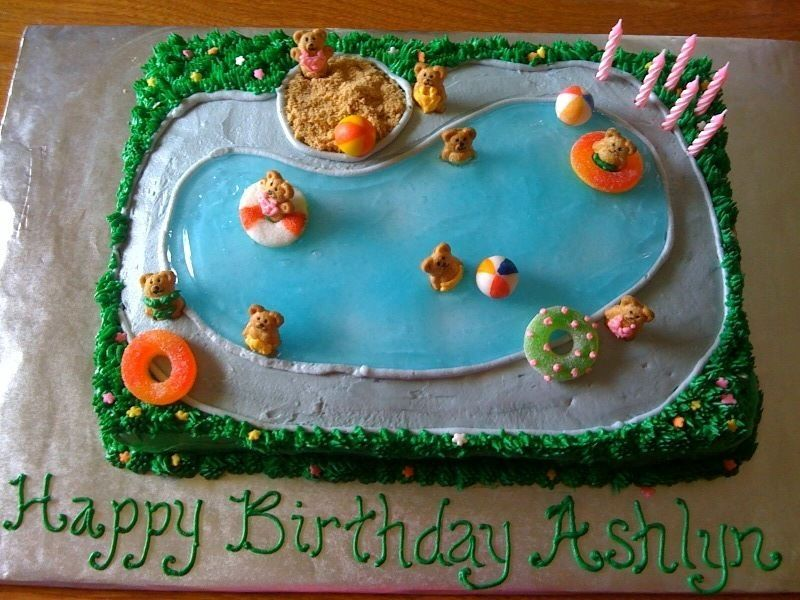 Swimming Pool Cake Ideas cant get enough swimming pool cake designs visit our pinterest board cool pool cakes to see over 50 swimming pool birthday and pool party cake pictures Swimmingbirthdaycakeideas Teddy Graham Pool Cake Childrens Birthday Cakes
