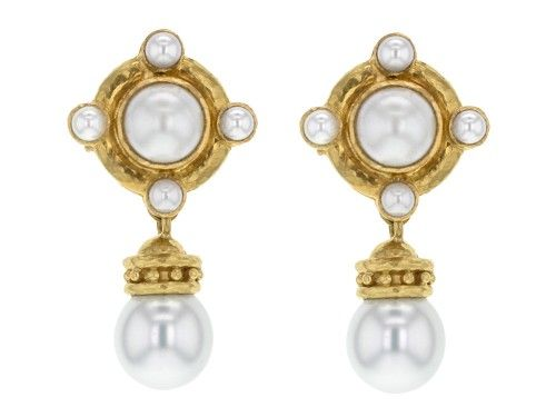 Elizabeth Locke 18k Pearl Earrings with Detachable Drop MwUsjJOL