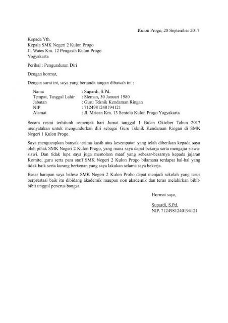 Contoh Surat Resgin Surat Pengunduran Diri Surat Sekolah