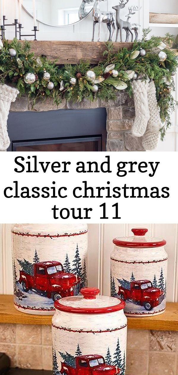 Silver and grey classic christmas tour 11 Silver Reindeer Christmas rustic fireplace mantel Vintage Country Kitchen Collection | LTD Commodities