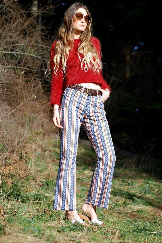 57d69868a0239 Vintage 1960 s High Waisted Levis Big E Jeans 31 30 Rare Southwestern    Striped Levis Bell Bottoms