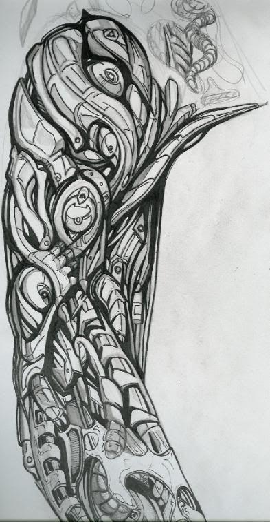 Tattoos Biomechanical Tattoo Sleeve Biomechanical Drawing