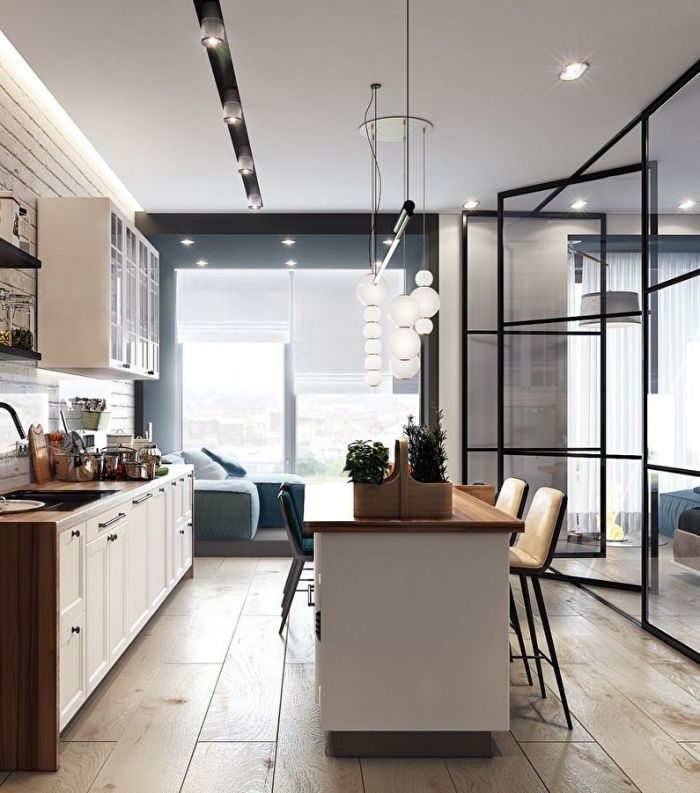 1001 Idees Pour La Cuisine Ouverte Avec Verriere Appartement Rustique Meuble Cuisine Blanc Et Maison Design
