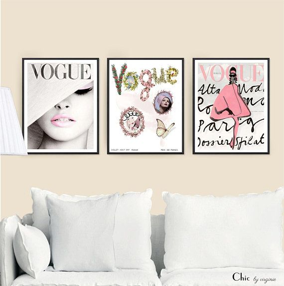 Vogue Posters Fashion Wall Art Set Of 3 Vogue Posters Vogue Prints Gift For Her Fashion Decor Original Art Fashion Wall Art Vintage Art Prints Wall Art