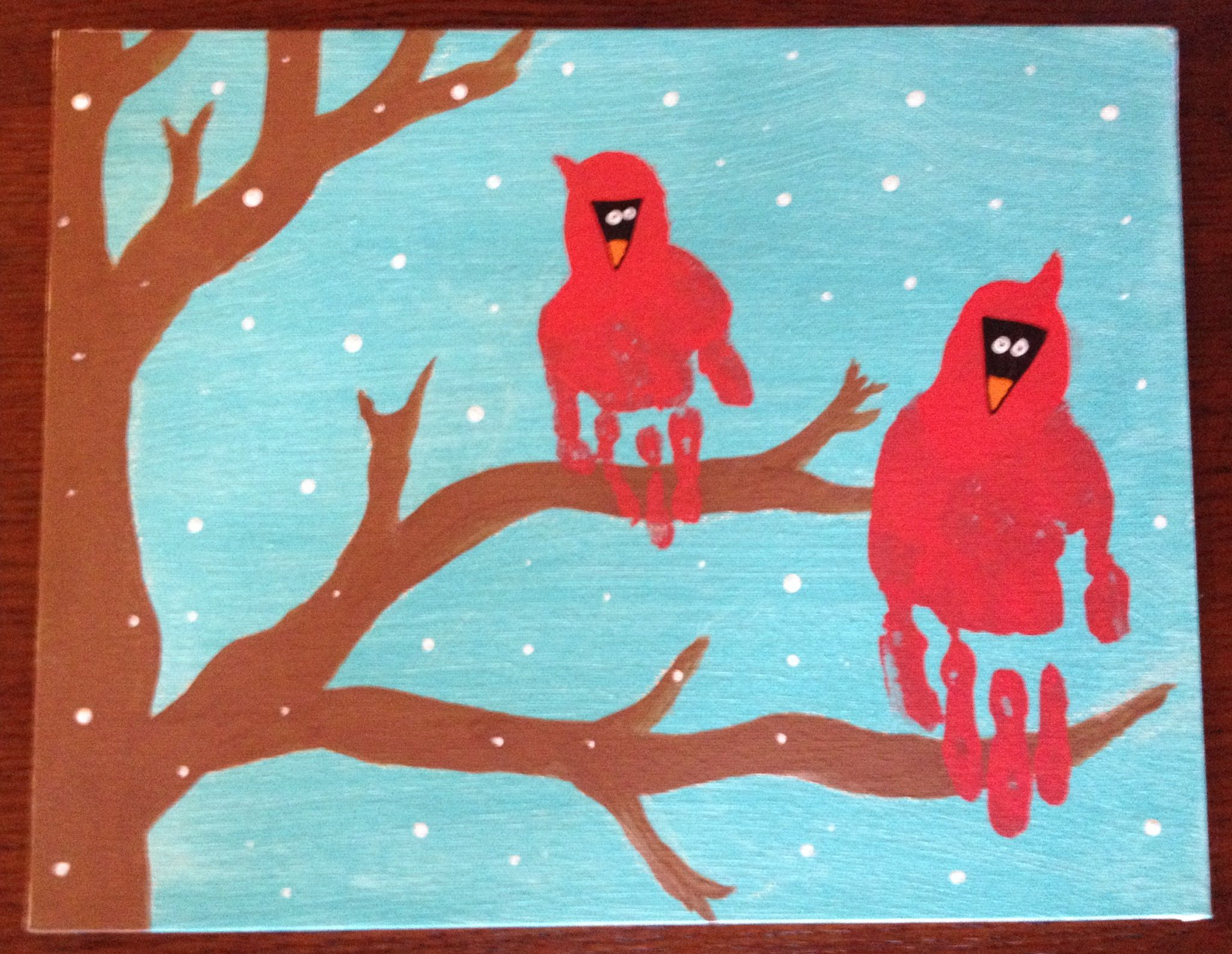 christmas hand craft ideas winter cardinal handprint look what we did 3627
