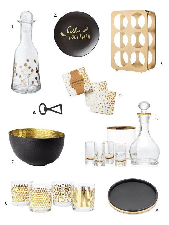 Holiday Home Trends Matte Black Shiny Gold Accessories For Under 25 Home Trends Thanksgiving Table Decorations Gold Bar Cart