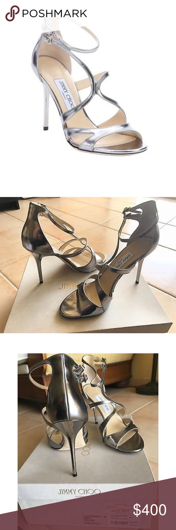b02894d4188 Jimmy Choo Furrow Metallic Leather Sandals Authentic Jimmy Choo 151 Furrow  Silver Sandals. Worn once
