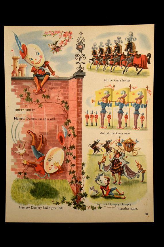 Nursery Rhyme Book Page Humpty Dumpty Wall Decor Hanging Art ...