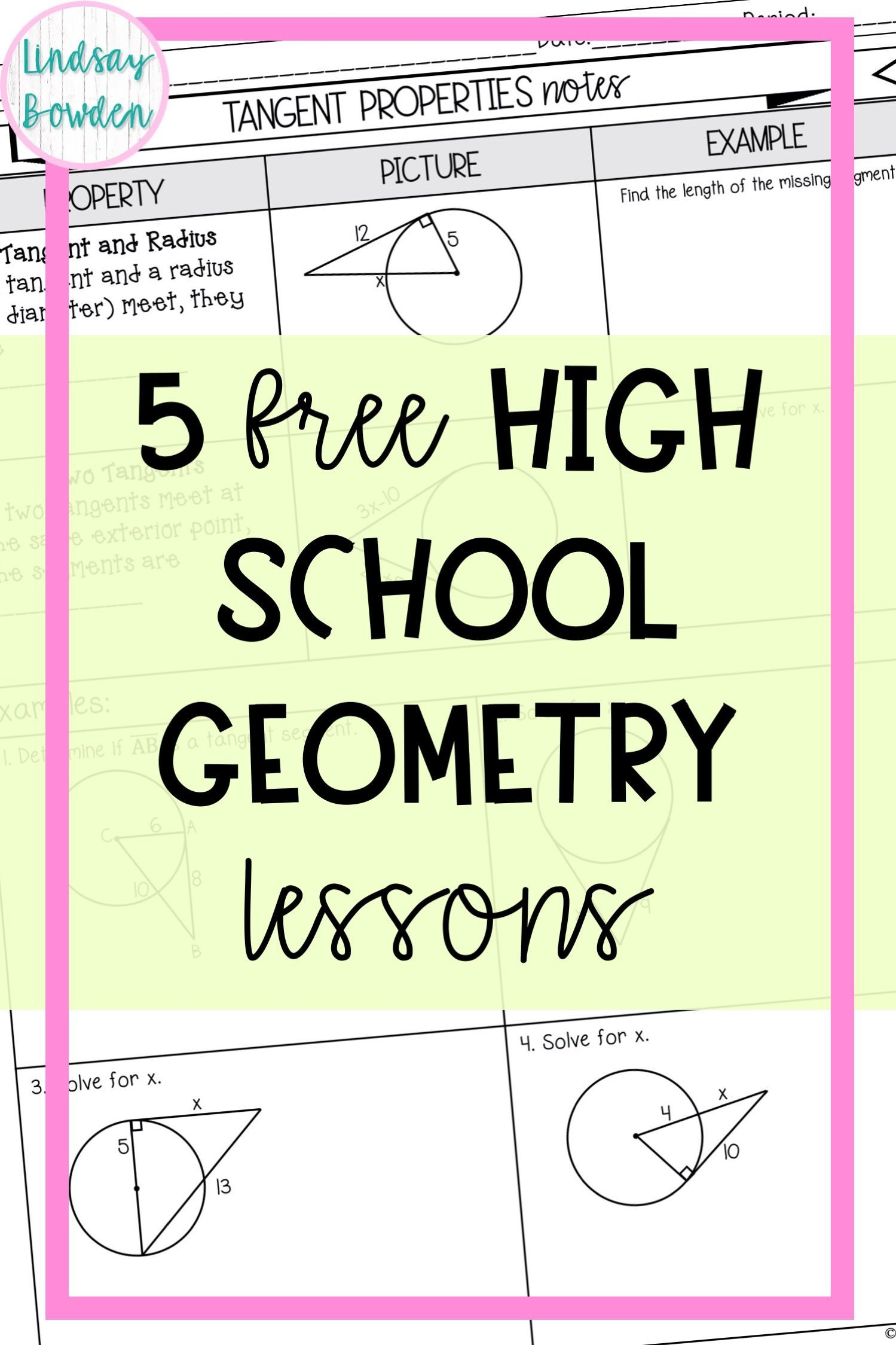 5 Geometry Lessons Geometry Lessons High School Geometry Notes Math Review Worksheets