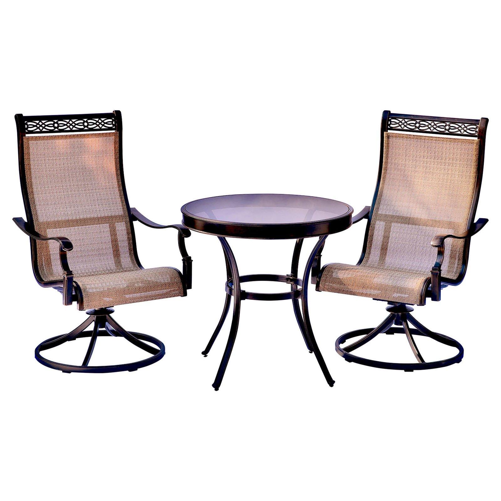 Fantastic Outdoor Hanover Monaco Aluminum 3 Piece Round Patio Bistro Andrewgaddart Wooden Chair Designs For Living Room Andrewgaddartcom