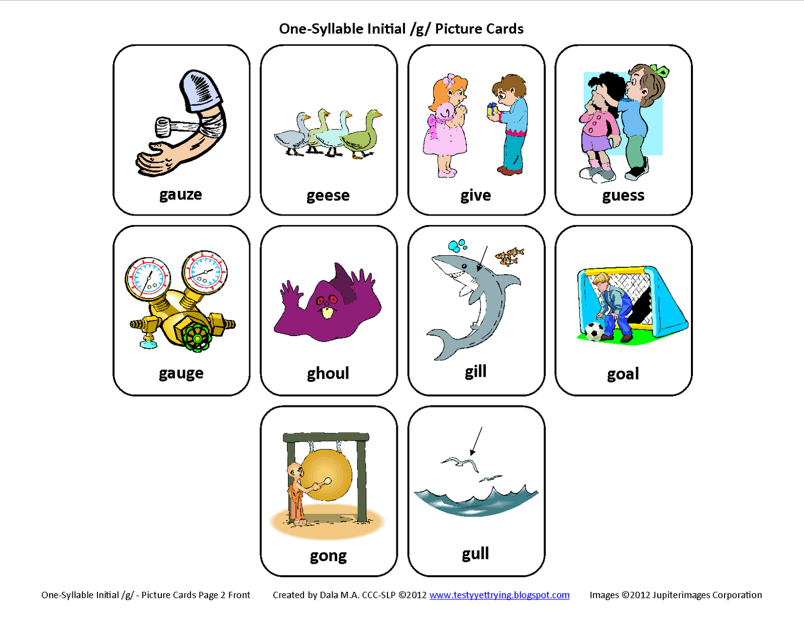 Inital G Speech Therapy Articulation Cards Page 2 Front