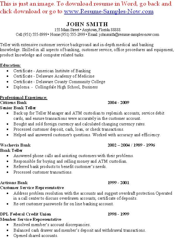 Sample Bank Teller Resume Entry Level - http://www.resumecareer.info ...