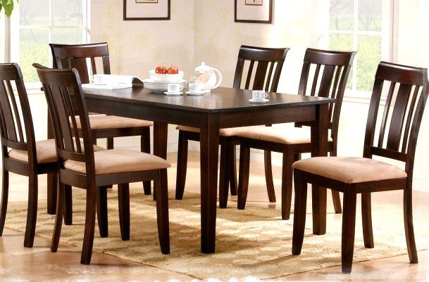 Modern and Classic Dining Room Tables Sets : Dining Room Tables Sets Wooden Floor Cream Seat Pad Ivory Wall Natural Sense White Cups