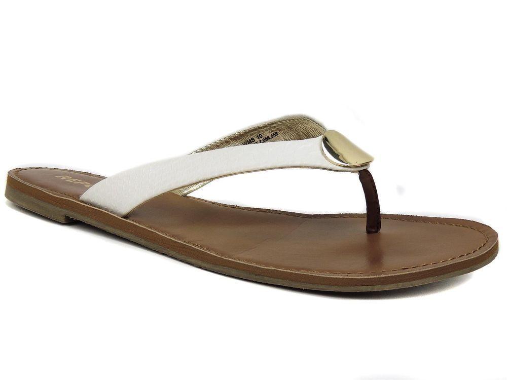 4cd45fb7b832 REPORT Women s Shields Flat Thong Sandals White Size 10 M  REPORT  FlipFlops   CasualBeachSummerVacationKickBackTime