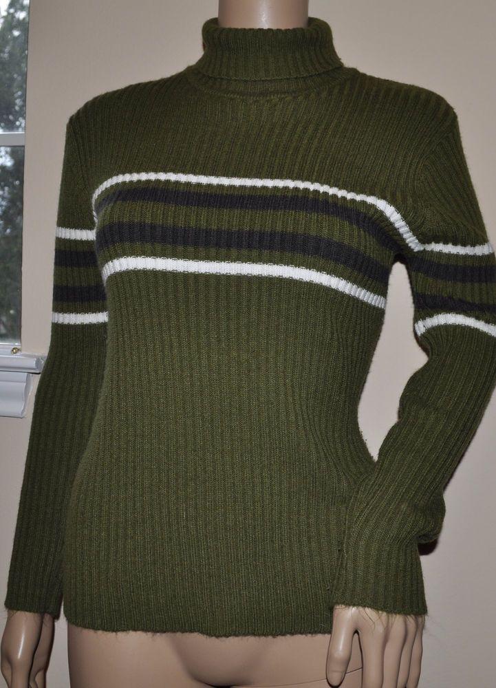 Passports Green Stripe Long-Sleeve Turtleneck Sweater Women's ...