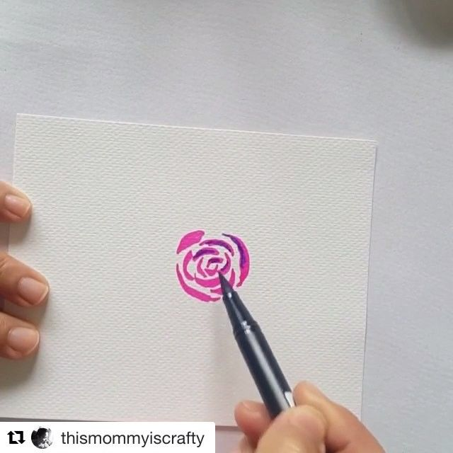 Dual Brush Pen Watercolor Roses By Thismommyiscrafty Tombow