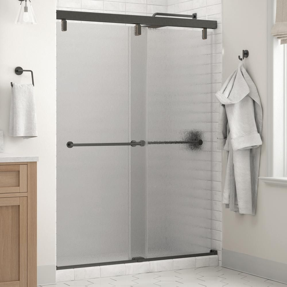 Delta Everly 60 X 71 1 2 In Frameless Mod Soft Close Sliding Shower Door In Bronze With 1 4 In 6mm Rain Glass Shower Doors Shower Door Handles Framed Shower Door