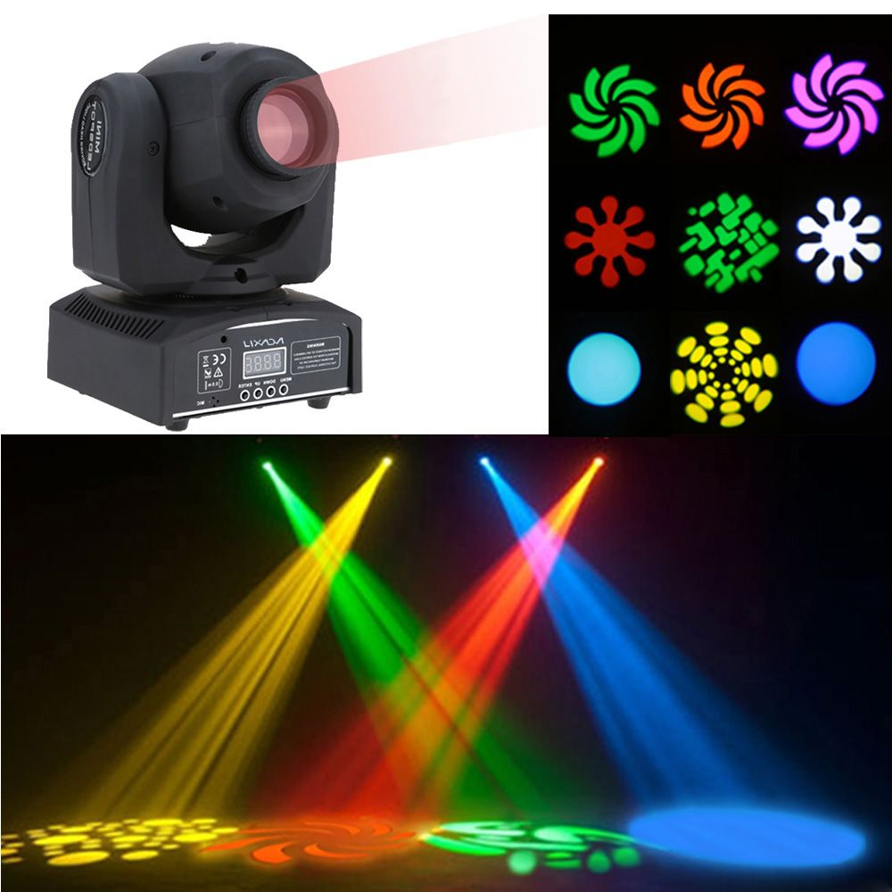 eu Lixada DMX-512 Mini Moving Head Light RGBW LED Stage