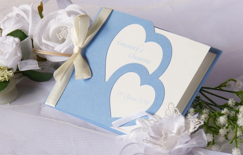 Partecipazioni Matrimonio Azzurro Polvere : Partecipazione cuori azzurro polvere serenity partecipazioni