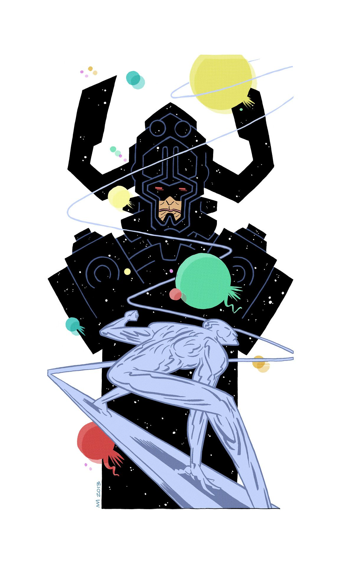 Galactus and Silver Surfer.
