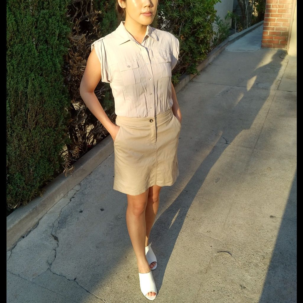 A X Shirt Dress Light Gray Khaki Skirt Shirtdress