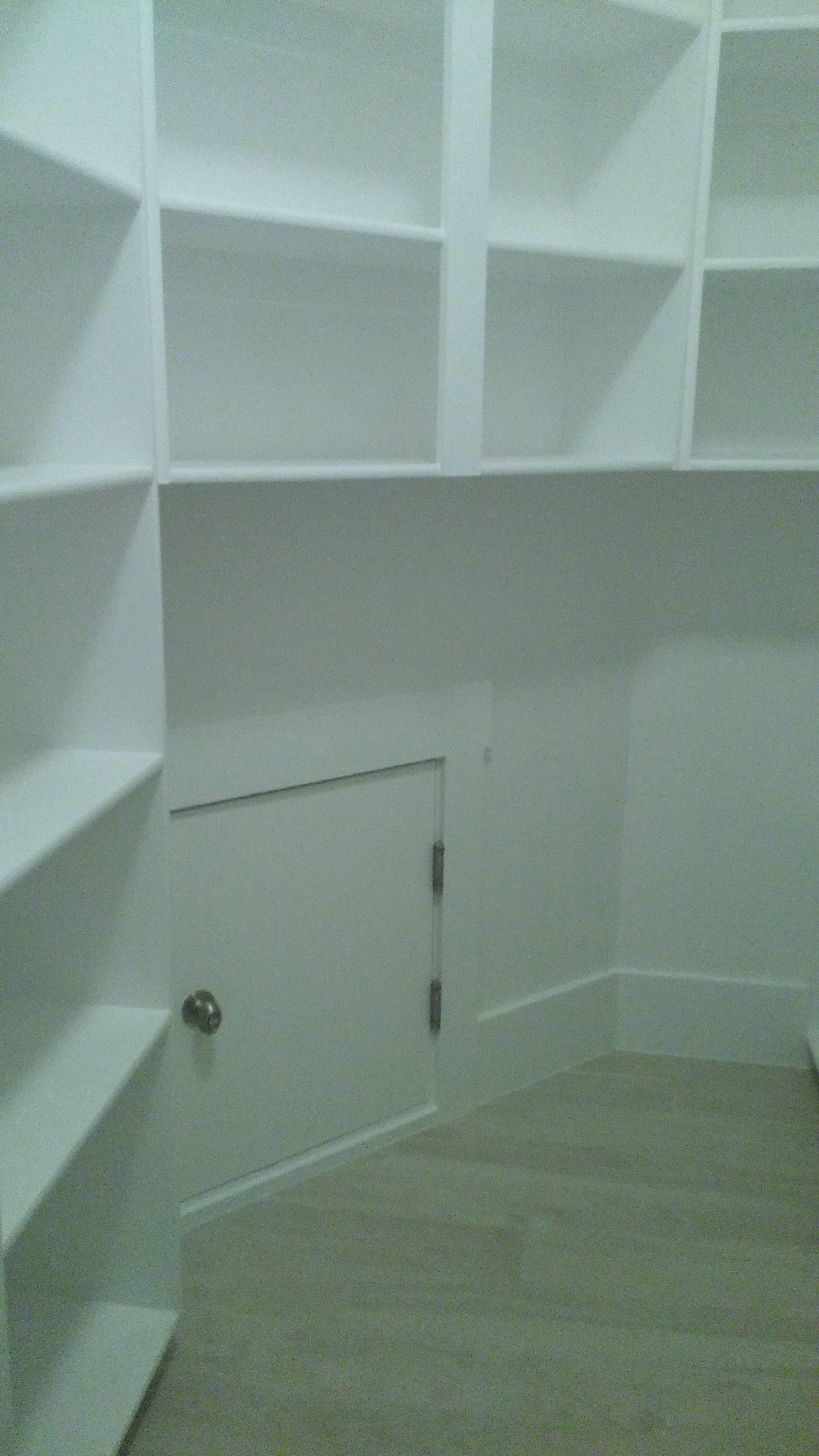 A walk in pantry with a little door from the garage so you can put ...