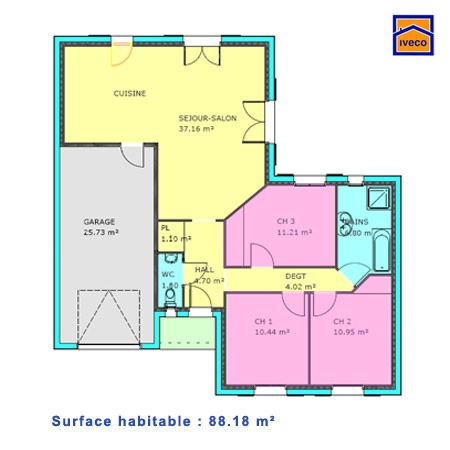 Download Plan Maison 3 Chambres Plain Pied 88.18 M2 | Plan De Maison