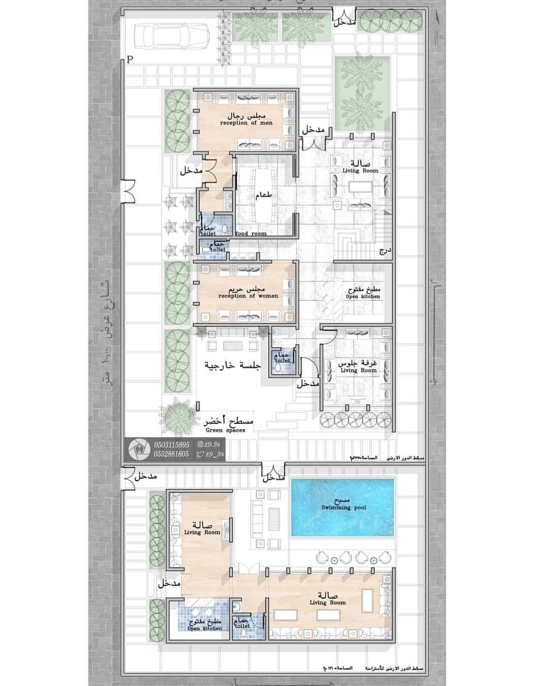 تصميم فيلا مودرن مساحة الدور الارضي ٢٧٧م٢ وفي الجزء الخلفي إستراحة خاصة بمساحة ١١٦م٢ عسير ال Cool House Designs Architectural House Plans Luxury House Plans