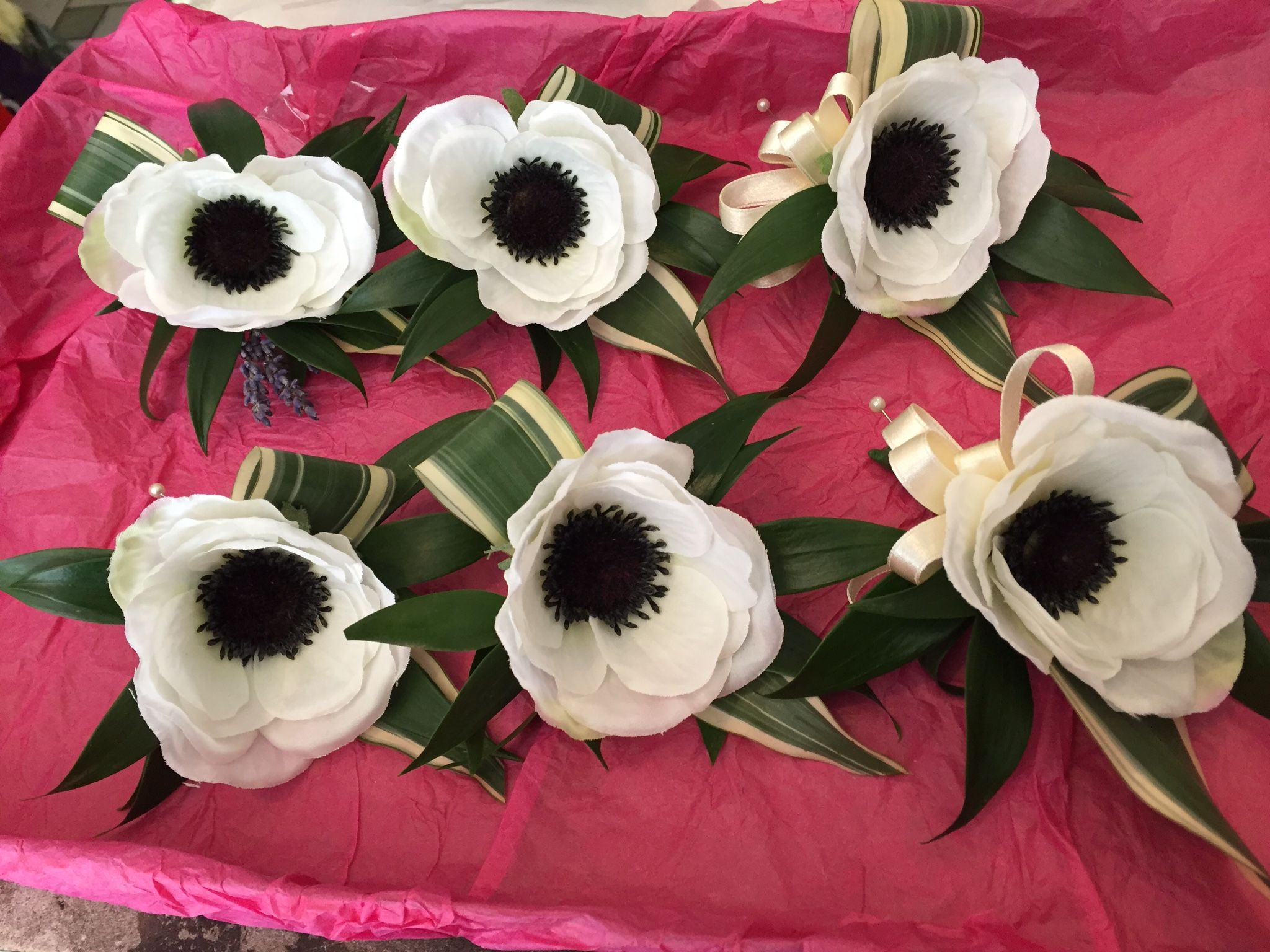 Silk Anemone Buttonholes Using Fresh Foliage Www