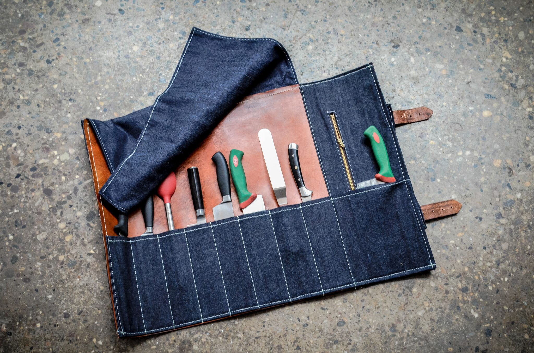 BLUE DENIM   LEATHER KNIFE ROLL – Butcher and Baker  861a81c986db