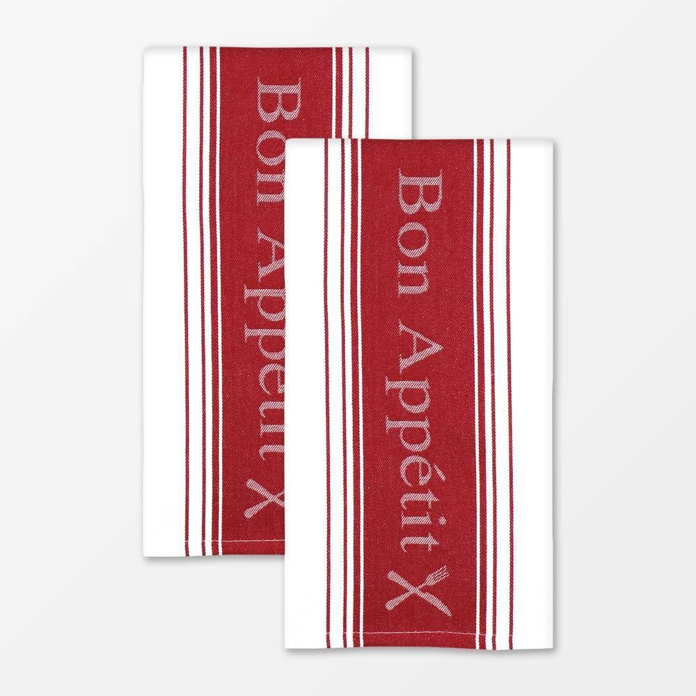 Set of 2 Jacquard Bon Appetit Cotton Towel Red - MU Kitchen ...