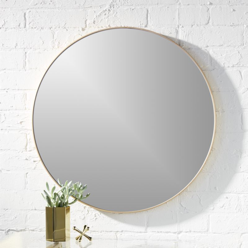 Shop Infinity 24 Round Brass Wall Mirror Mirror Image Without Bounds Framed Thin Trim And Exact In 2020 Modern Mirror Wall Round Wall Mirror Mirror Wall Living Room