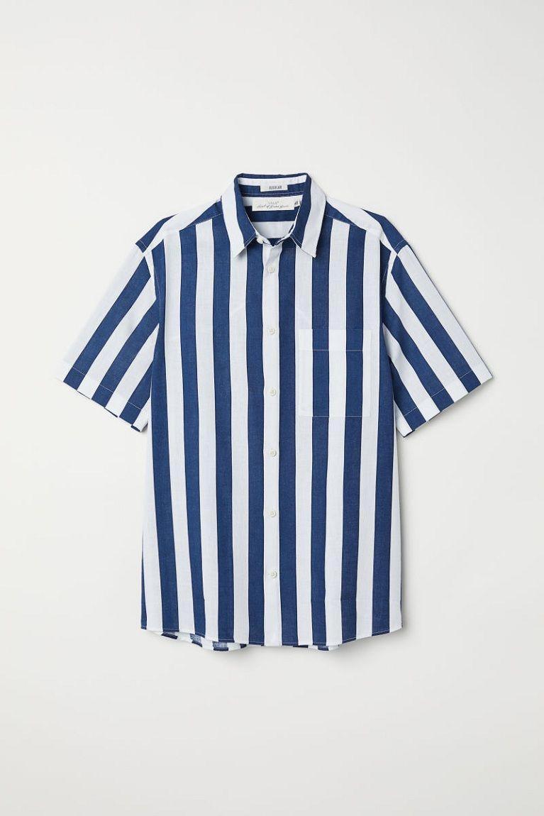 62c25d5a5860 H&M Regular Fit Short-sleeve Shirt #men #clothing #font #product #text