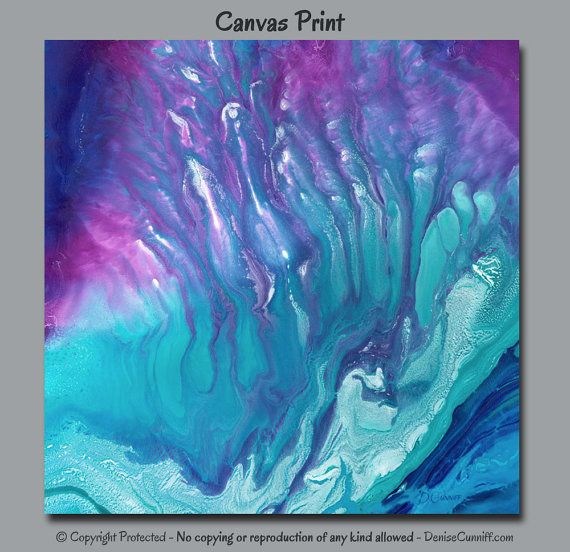 Items Similar To Teal Purple Abstract Flowers Wall Decor: Abstract Canvas Wall Art, Teal Purple Blue Jewel Tone