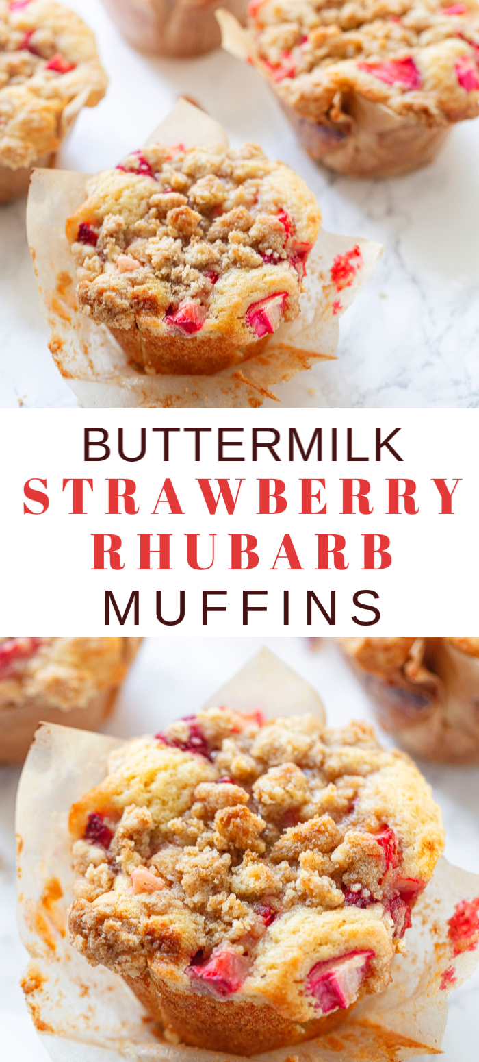Big Buttermilk Strawberry Rhubarb Muffins In 2020 Rhubarb Muffins Breakfast Recipes Easy Strawberry Rhubarb