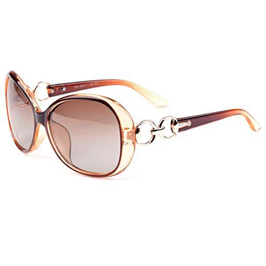 c83cd82f3f97 VeBrellen Luxury Transparent Women s Polarized Sunglasses Retro Eyewear  Oversized Square Frame Goggles Eyeglasses (Transport Frame With Dark Brown  Lens